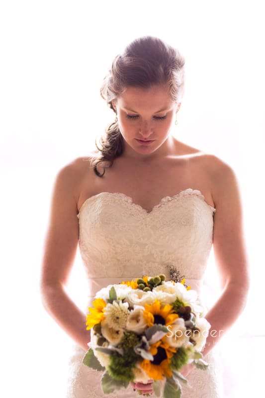 wedding portrait of bride at Mayfield Country Club