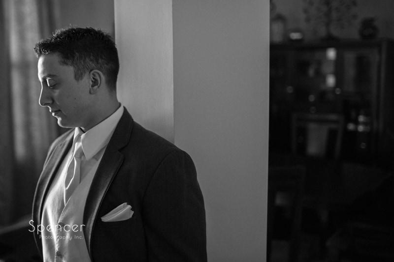 black and white wedding image of groom