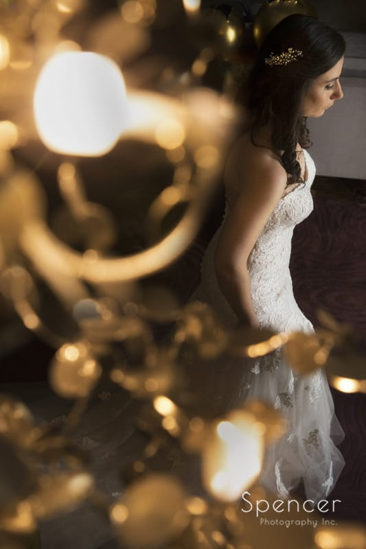 picture of bride thru chandelier at Westin Cleveland