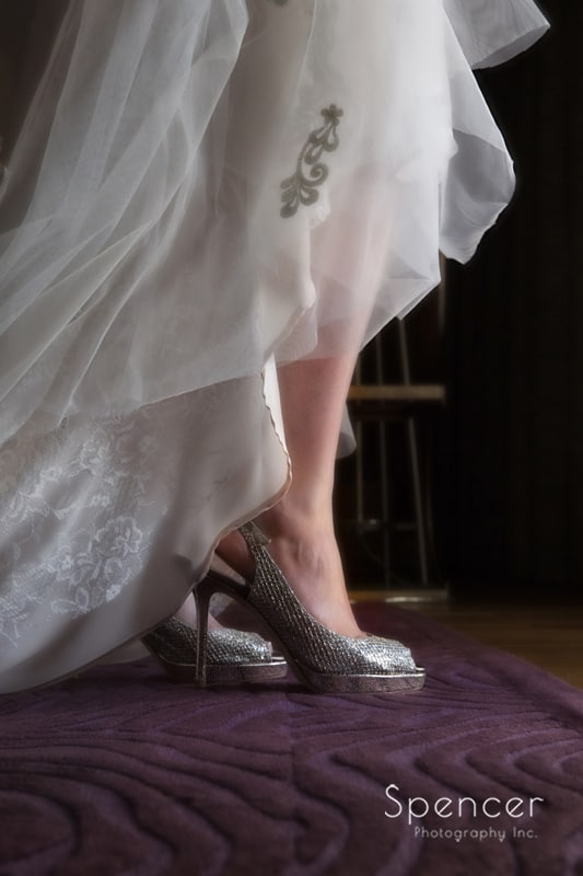 detail of bride's wedding day Jimmy Choo shoes