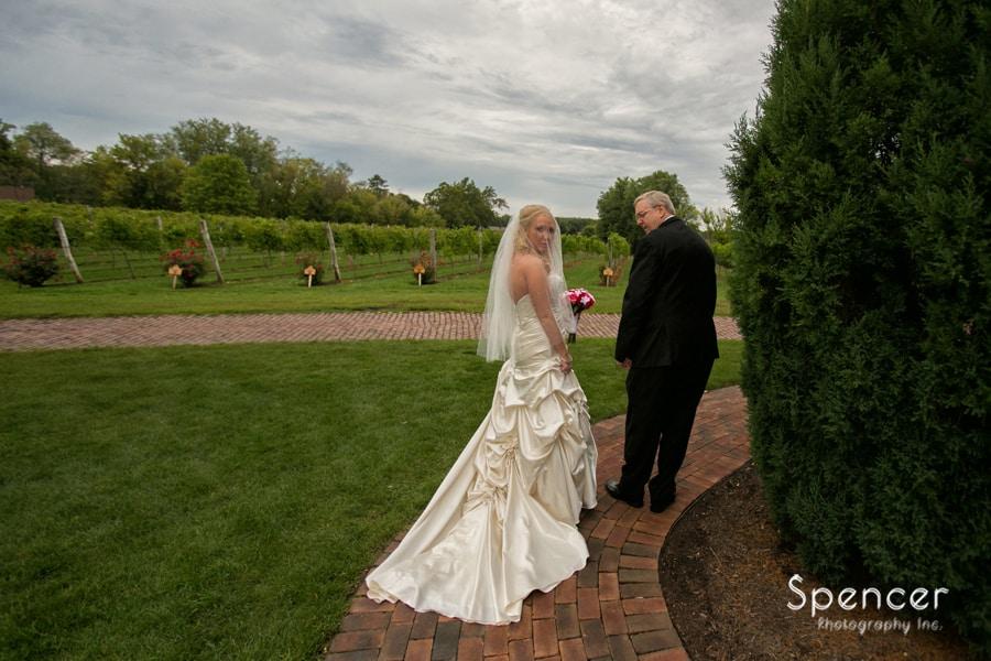 bride with dad before wedding ceremony at Gervasi