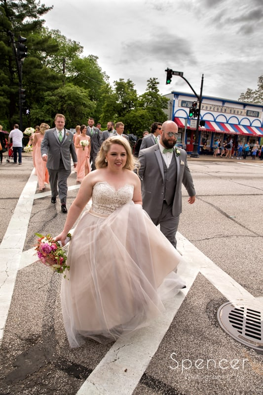 candid of wedding party in chagrin falls
