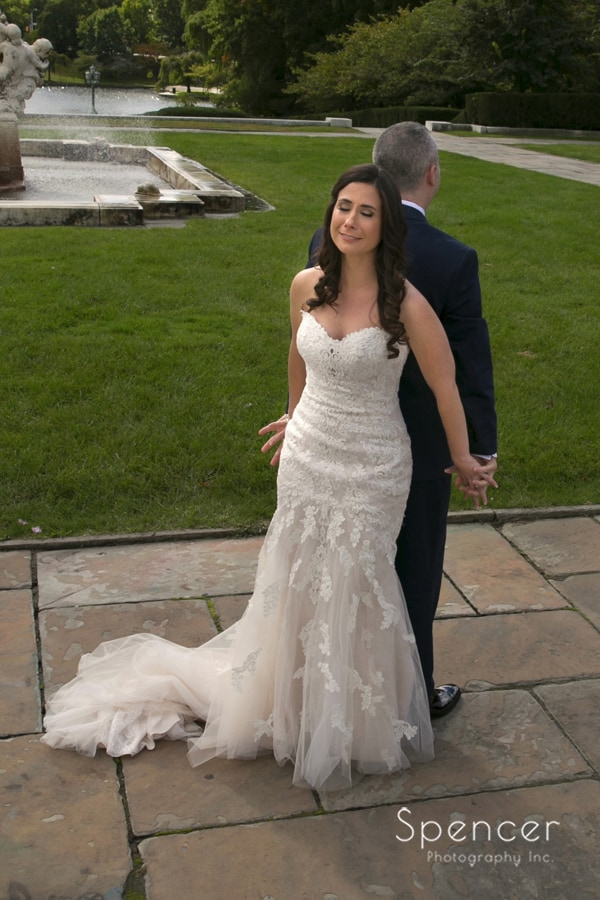 bride getting emotional before seeing groom for first time