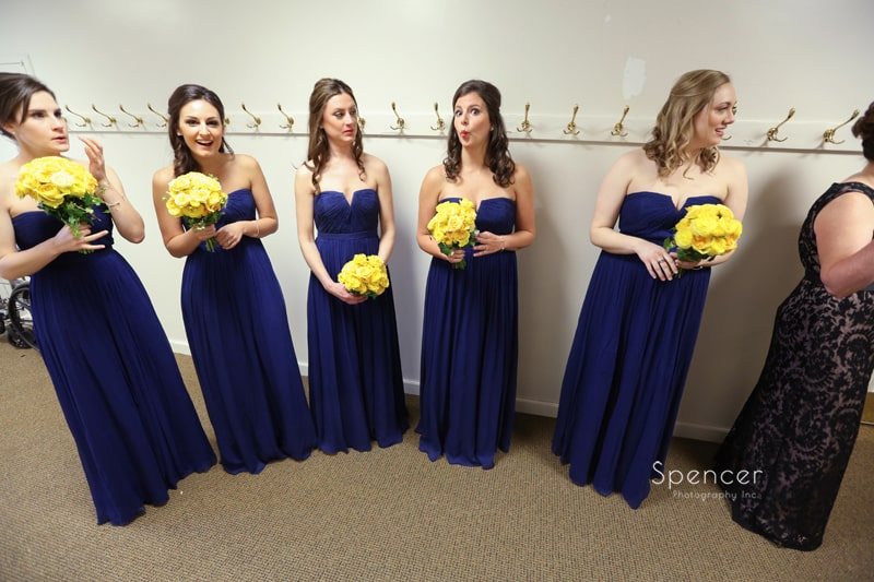 bridesmaids waiting for wedding ceremony to begin