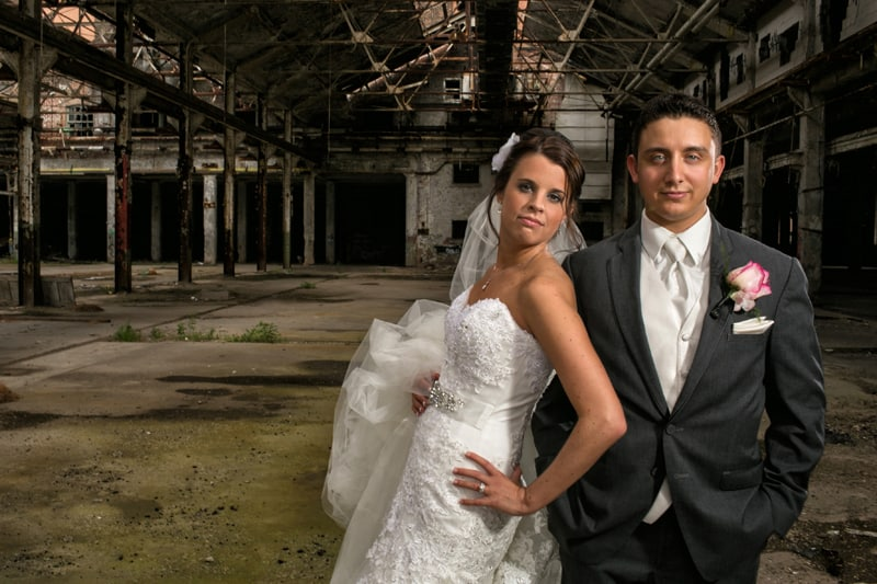 artistic wedding picture of bride and groom in cleveland