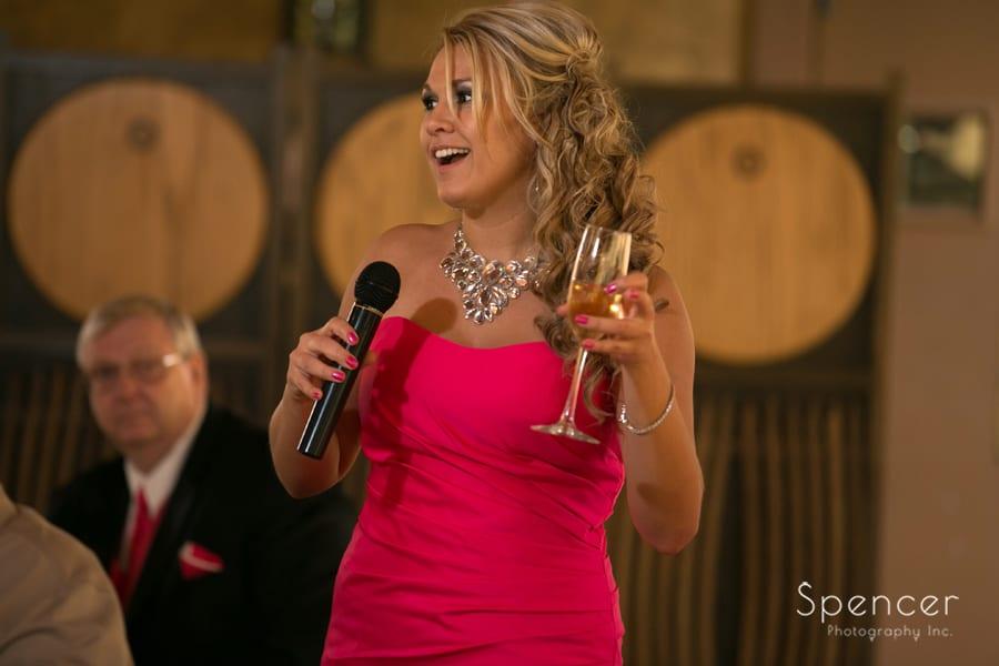 Maid of honor speech at Gervasi Vineyard wedding reception