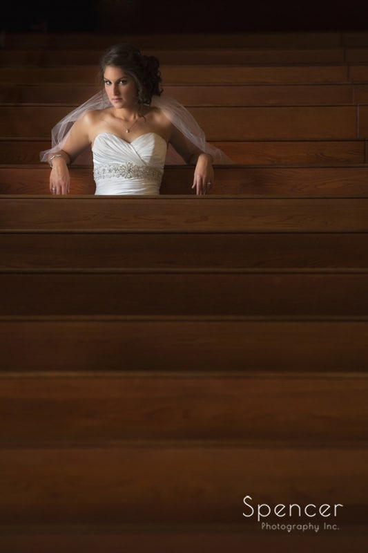 creative wedding picture of bride at Canton church