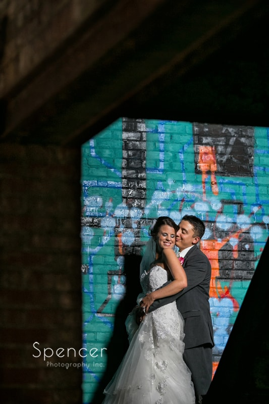 wedding picture in warehouse in cleveland