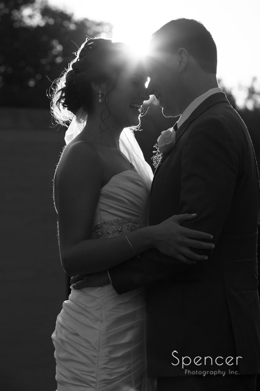 black and white picture of bride and groom at McKinley Monument