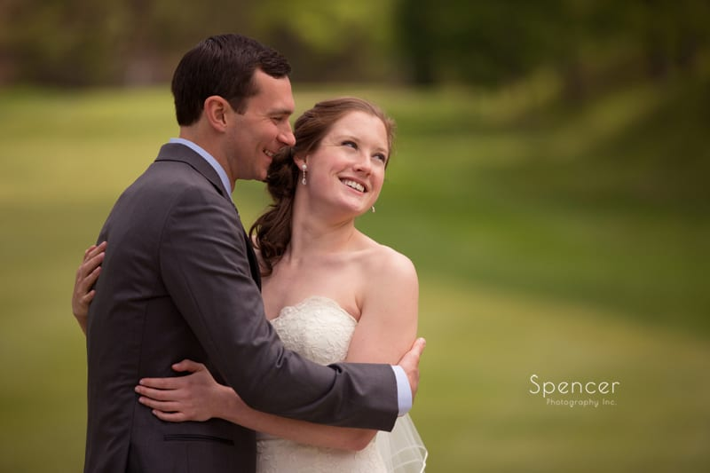 bride and groom on wedding day at Mayfield Country Club