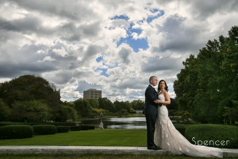 dramatic wedding picture in wade oval park cleveland