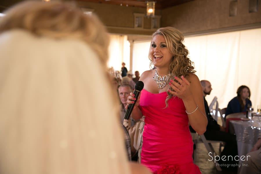 speech by maid of honor at wedding reception at Gervasi Vineyard