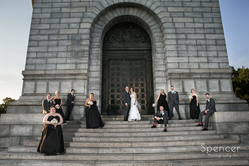 picture of bridal party at McKinley Memorial in Canton