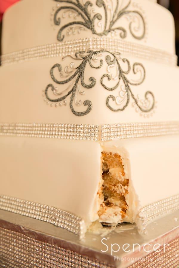 wedding cake at wedding reception at Gervasi