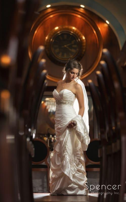 creative wedding picture of bride at La Pizzaria