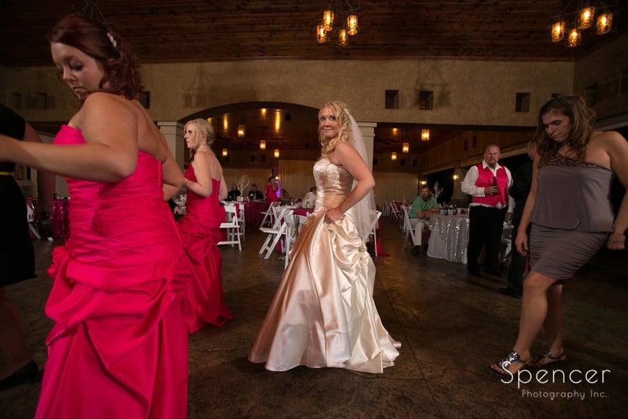 bride dancing at her wedding reception at Gervasi Vineyard