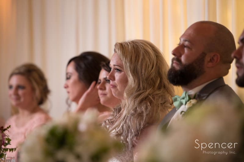 bride reacts to dads speech at tanglewood wedding reception