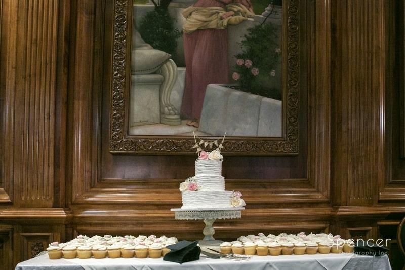 wedding cake at La Pizzaria wedding reception