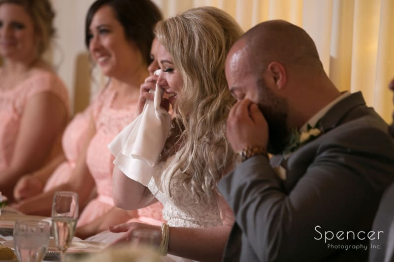 bride crying at tanglewood country club reception