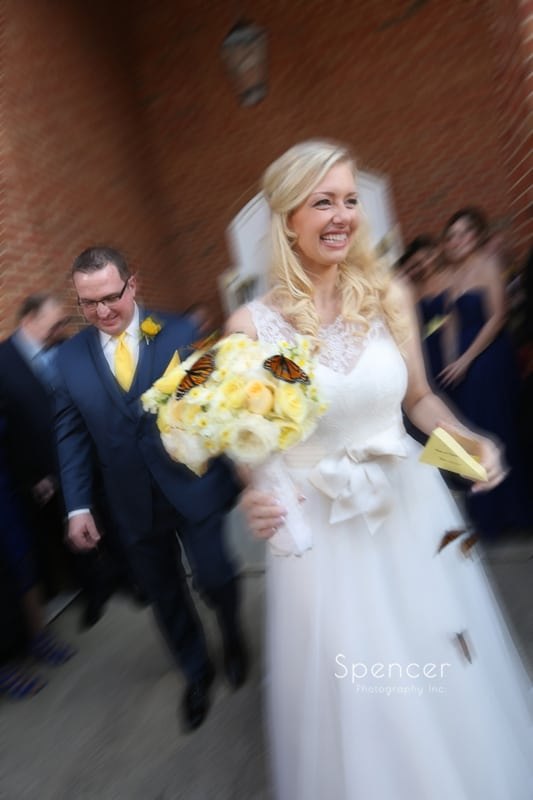 bride exiting her wedding ceremony in Chagrin Falls