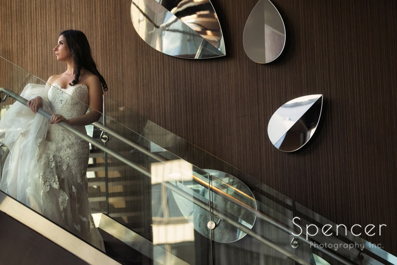 wedding portrait of bride on stairs of westin cleveland