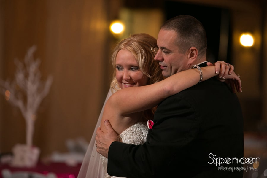 close up of bride and groom dancing at their wedding reception at Gervasi