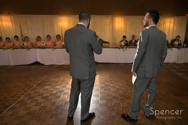 groomsmen give wedding reception speech at tanglewood