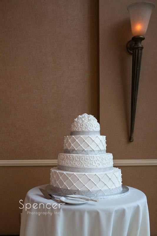 wedding cake at wedding reception at st clair ballroom