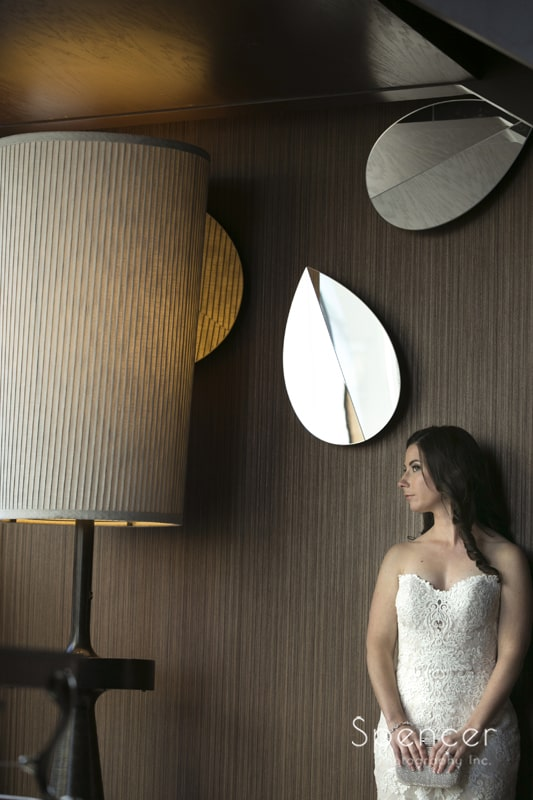 wedding picture of bride by a lamp at westin cleveland