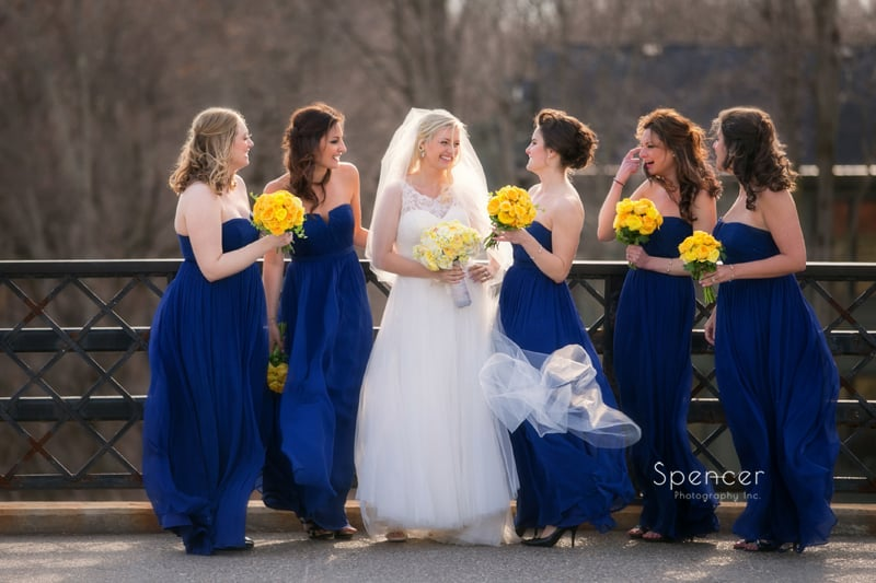 bridesmaids on wedding day in Chagrin Falls Ohio