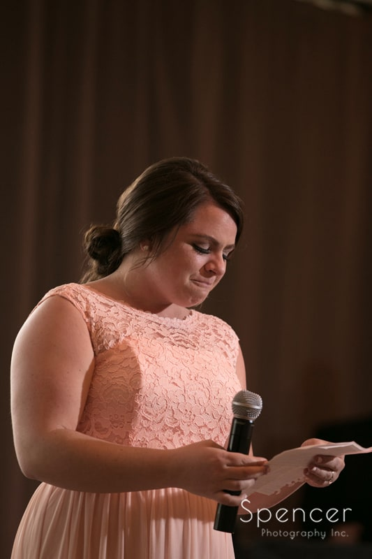 maid of honor giving speech at reception at tanglewood