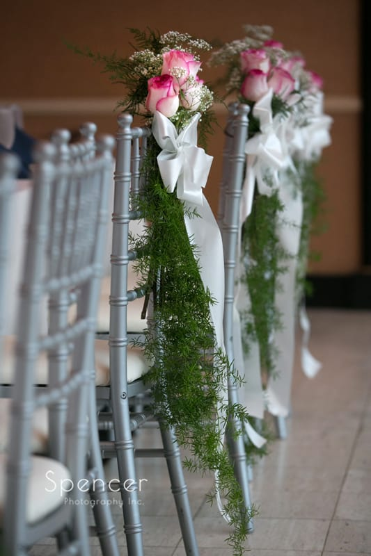 reception chairs at wedding reception at st. clair ballroom