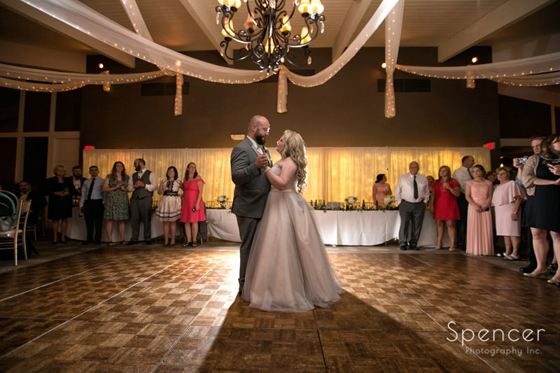 bride and groom first dance at tanglewood reception
