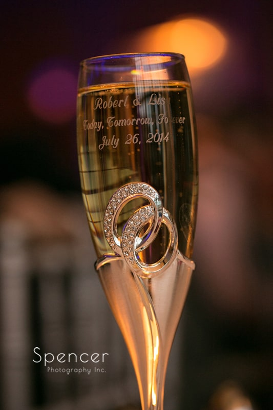 champagne flute at st. clair ballroom wedding reception