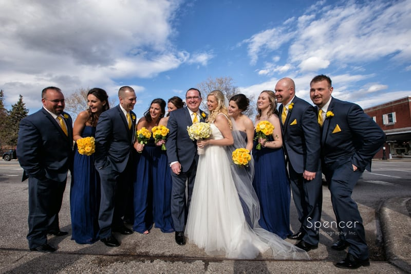bridal party picture on sidewalk in Chagrin Falls Ohio
