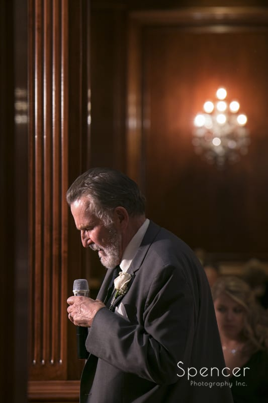 father of ther bride giving reception speech