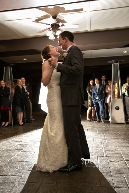 first dance at wedding reception at Mayfield Country Club