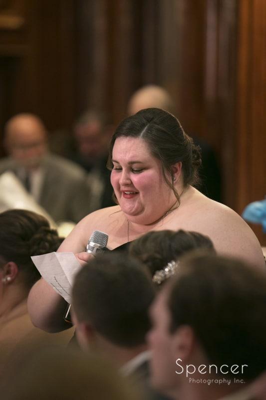 maid of honor speech at La Pizzaria wedding reception