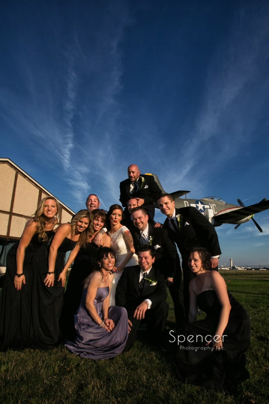 bridal party picture outside of wedding reception at 100th Bomb Group