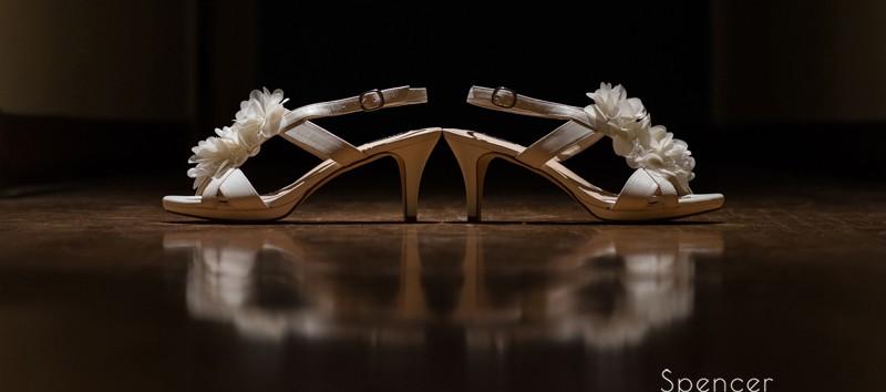 brides wedding day shoes in chagrin falls church
