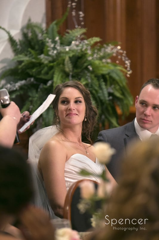 bride reacting to maid of honor reception speech