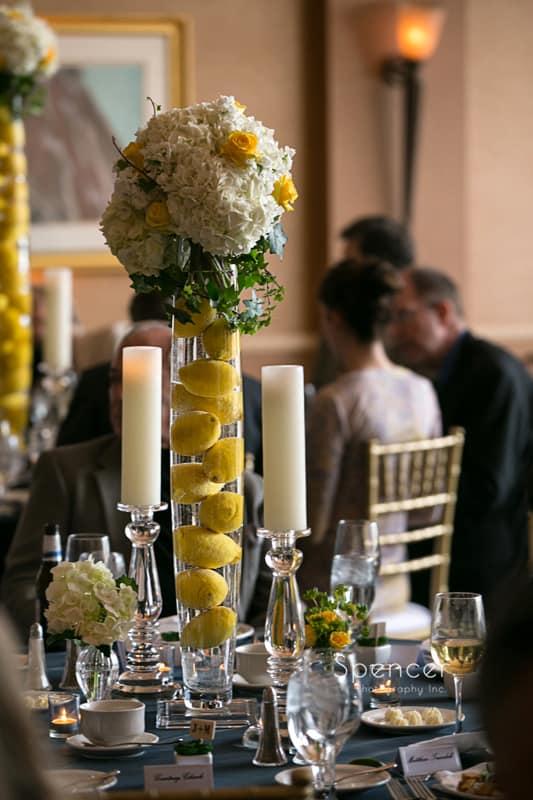 floral centerpiece at St. Clair Ballroom Cleveland wedding reception