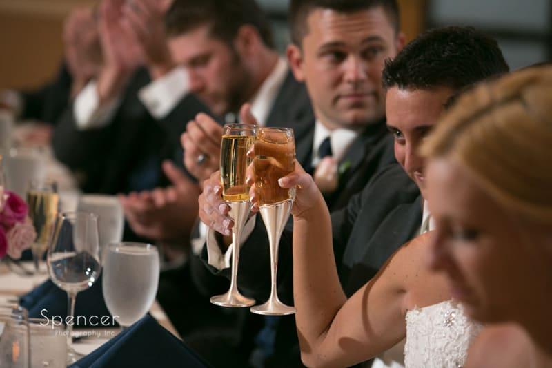 wedding toast at wedding reception at st. clair ballroom