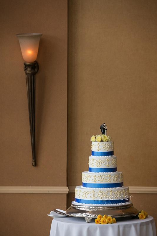wedding cake at wedding reception at St. Clair Ballroom Cleveland