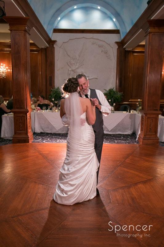 bride dancing with her dad at La Pizzaria wedding reception