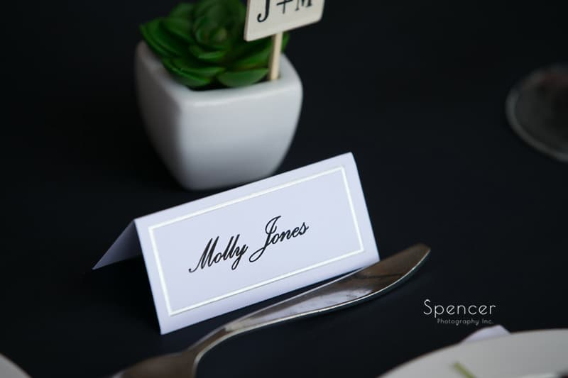 brides name placard at wedding reception St. Clair Ballroom Cleveland