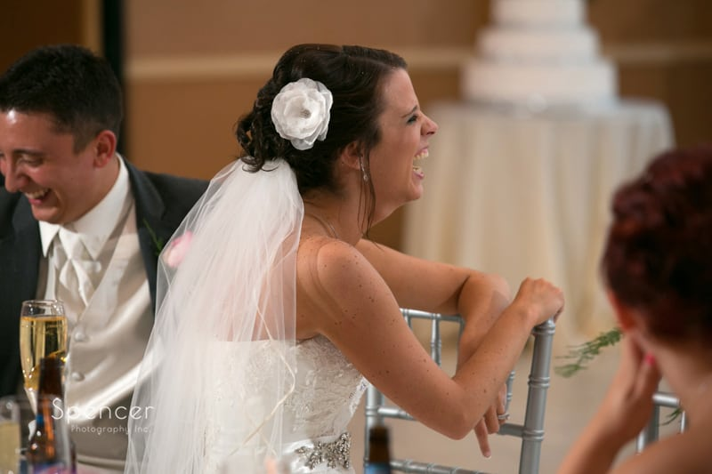 bride reacting to maid of honor speech at st. clair ballroom