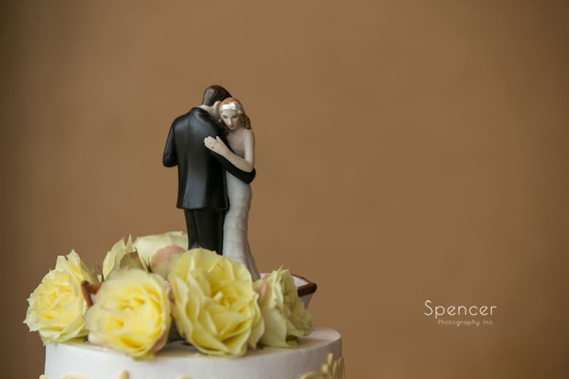 cake topper at wedding reception at St. Clair Ballroom Cleveland
