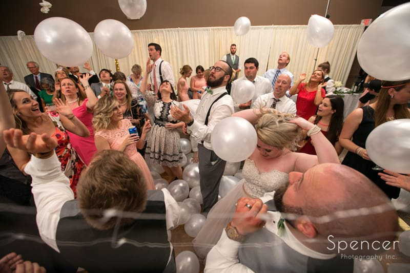 marino brothers balloon drop at wedding reception