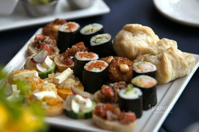 plate of sushi at St. Clair Ballroom Cleveland wedding reception